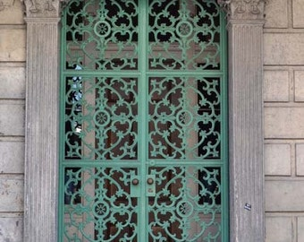 New Orleans print, home decor, wall print, french quarter, door photography, ironwork, mint green, travel photography, door