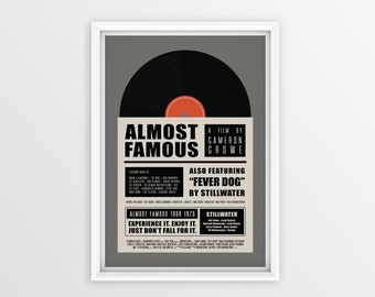 Printable Almost Famous Film Poster // Cameron Crowe // Digital File Download // A2