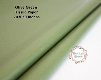 Olive Green Tissue Paper, 20 by 30 Inch, 24 Sheets, Tissue Paper, Olive Tissue Paper, Green Tissue Paper, Wedding Favors, Green Gift Wrap