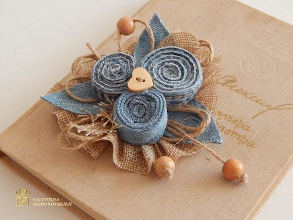 Beautiful Handmade Brooch. Jeans flower. Boho brooch. Flower