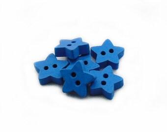 Star Wood Buttons, Blue Wood Buttons, Wood Buttons, Star Blue Wooden Buttons, Baby Buttons, 6pcs Buttons, DIY Buttons