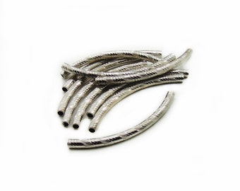 Curved Tube Beads, Tube Beads, Antique Silver Tube Beads, Curved Beads, 10 pcs Tube Beads, Spacer Beads, Jewelry Making, Graft Supplies