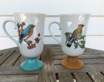 vintage bird footed pedestal mugs, set of 2,