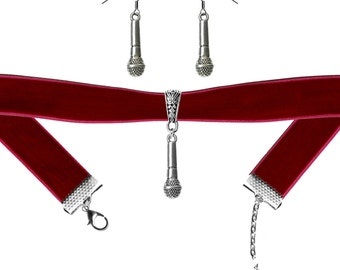 Microphone Charm Velvet Choker Necklace and or Earrings