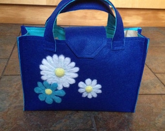 Blue Felt Bag With Flower Embellishment