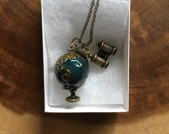 Globe Charm Necklace, Binoculars Necklace, Mission Trip Gift, Earth Day Necklace, Traveler Gift. Study Abroad Gift