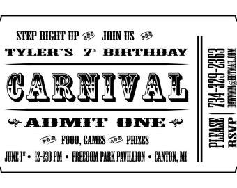 Custom Carnival Ticket Invite