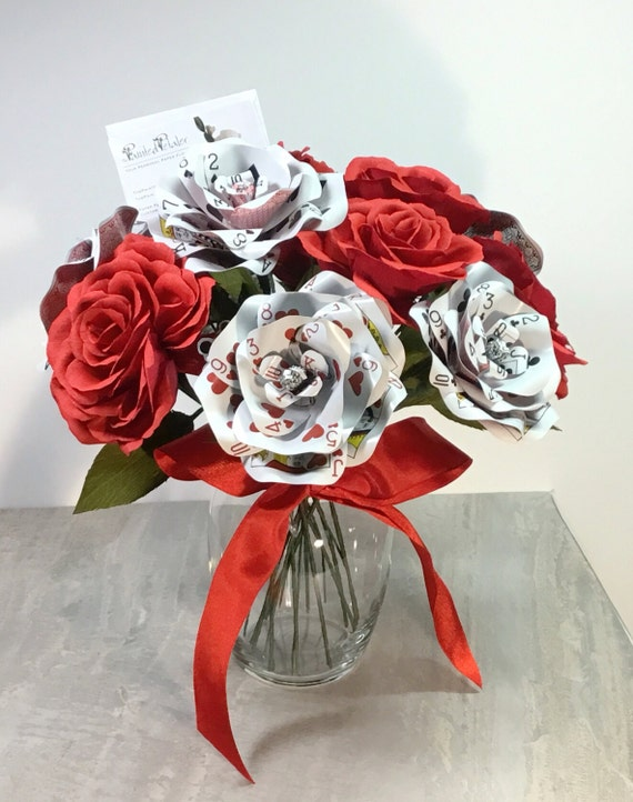 Dozen Paper Roses, 6 Crepe Paper Flowers & 6 Playing Card Flowers | Vegas | Casino Centerpiece without Vase| Poker Bouquet