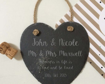 Slate Heart Sign Personalised Engraved Slate