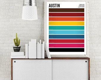 Austin Minimalist Print - AUS Texas Minimal Poster - Wall Art, Apartment Décor, Abstract Illustration, Boyfriend Gift, Husband Gift, Color