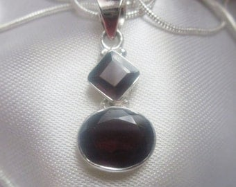 Red Garnet Gemstone Pendant on a Sterling Silver Necklace chain