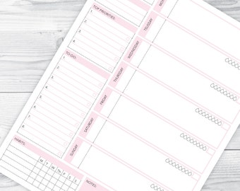 weekly planner printable weekly calendar weekly organizer weekly agenda weekly desk planner weekly hourly planner weekly inserts LETTER SIZE