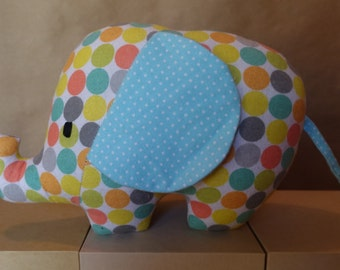 Stuffed Elephant Toy in Polka Dotted Flannel