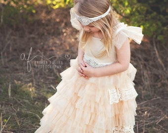 Champagne flower girl dress, lace baby dress, rustic flower girl dress, country flower girl dress, lace girls dresses, flower girl dress,