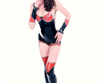 Retro Orange and Black Latex Body with Arm and Leg accessoires size S
