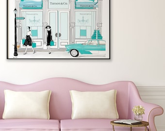 Audrey at Tiffany, Breakfast at Tiffany's, Audrey Hepburn, Tiffany and Co Fashion Illustration,Limited Edition Print,Free Shipping Worldwide