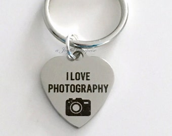 I Love Photography KeyChain, Gift for Wedding Photographer Gift for Photo Camera Student Graduation Keyring men female planner purse charm
