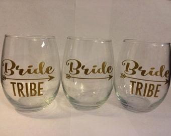 Bride Tribe Stemless wine glasses personalized bridal party