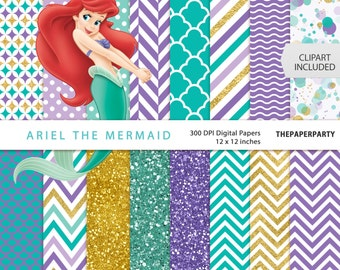 Little Mermaid Princess Ariel digital papers 12 x 12 inches 300 DPI commercial or personal use