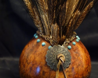 Western Gourd with Turquoise Accents