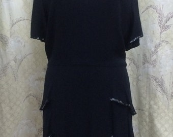 1950s Black Multi-tiered dress with Sequin Trim