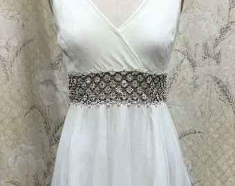 Vintage 1970s Lord and Taylor White Beaded Mini Dress