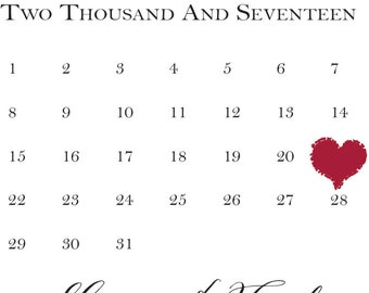 Heart Calendar Save The Date