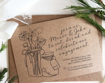 Engagement Invitations - Engagement Invites - Rustic Invitations - Rustic Weddding - Floral Engagement Invite - Calligraphy Invitations