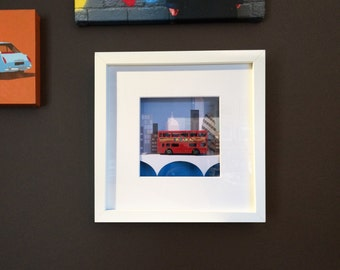 Handmade Old toy Red London Bus picture, Wall Art, Childs room