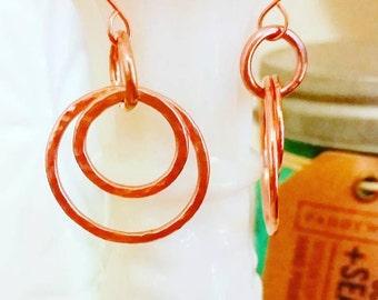 Hammered Copper Dangle Hoop Earrings