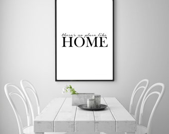 Digital poster print: Theres no place like home. Motivational printable wall art, quote wall art download, home decor printable poster quote