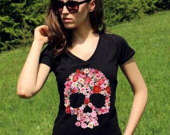 Sugar Skull Shirts Skull TShirt Sugar Skull TShirt Skull Tee Shirt Skull Clothing Skull Tshirt Women Lady V Neck Hipster Tees Shirt