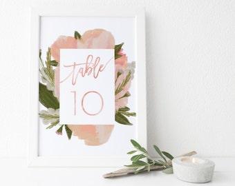 instant download pink floral table numbers // handpainted flowers // hand lettering // printable digital files // wedding table numbers 1-20