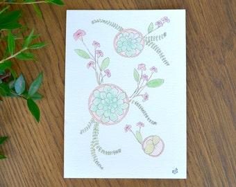 Succulent Watercolor Print, Succulent Petunia Flower Print, Floral Succulent Print, Botanical Design Painting, Succulent Wall Art