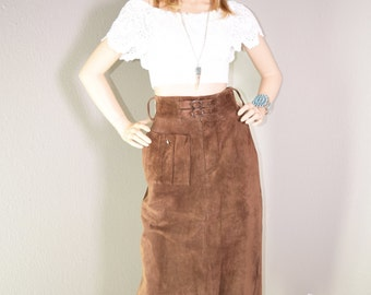 VINTAGE 80s SUEDE LEATHER Belted High Waist Pencil Midi Mini Bandage Skirt S/M