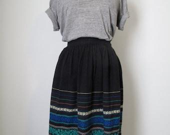 vintage black embroidered skirt