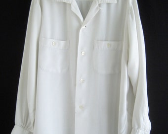 1950's White Rayon gabardine long sleeve shirt with top stitches on collars and pockets