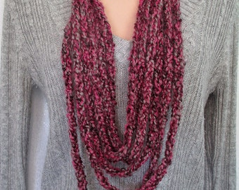 CLEARANCE - Pink Gray and Black Lucetted Chain Infinity Scarf