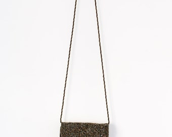 Evening Bag, Sequined Purse, Charcoal Tote, Silver, Inge Bag