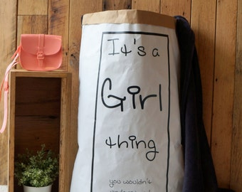 SALE - Girl Thing...- Personalised Paper Storage Bag / Storage Bag for dresses, books, magazines, clothes - different colours available