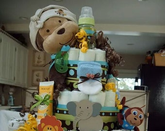 Monkey Jungle Diaper Cake - 4 Tier - Made to order