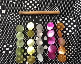 Capiz in the Breeze~Rainbow Colored~Hanging Wind Chimes~Bamboo~Windowpane Oyster~Nautical~Beach~Boho