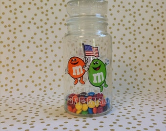 M&M's 4 USA~1984 Olympic Games~Apothecary Jar~Chocolate Candies~Anchor Hocking Glass