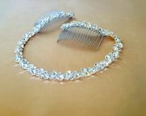 Rhinestone Bridal Headpiece, Crystal Hair Tiara, Bridal Headband, Wedding Headband, Wedding Hair Tiara, Prom Headband