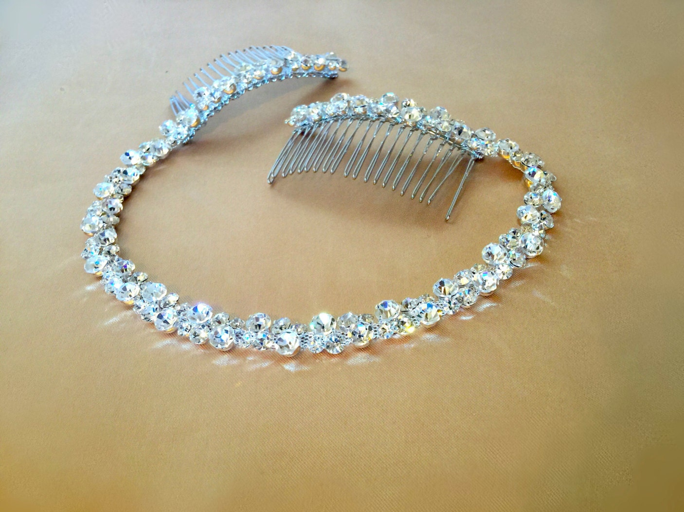 Rhinestone Bridal Headpiece Crystal Hair Tiara Bridal
