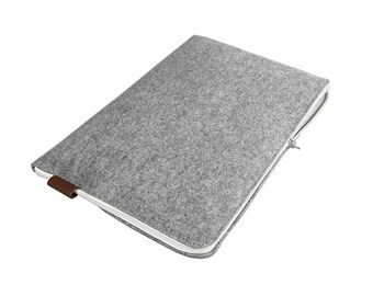 LAPTOP SLEEVE 01 gray felt with white zipper Macbook Cover all sizes notebook case
