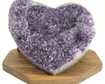 Large Amethyst Heart Geode with Wood Stand (Brazil #8345) 8 inches wide, High Quality Crystals for Decoration, Display, and Healing Energy