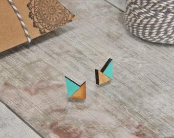 Mint Geometric Wooden Lasercut Stud Earrings SALE