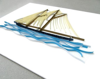 Paper Quilling Ship, Bluenose Wall Art, Bluenose Canvas Art, Nautical Home Decor, Nova Scotia Art, Quilling Nautical, Quilled Art, Ship