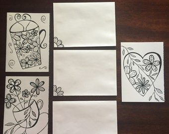 Set of 3 Hand Drawn Greeting Cards with Envelopes